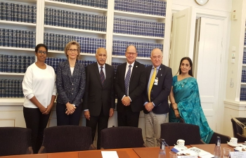 Minister of State for External Affairs Shri M. J. Akbar meets with Speaker of Swedish Parliament (Riksdag) Mr. Urban Ahlin and Members of Parliament