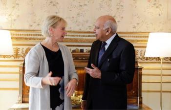 Minister of State for External Affairs Shri M. J. Akbar meets Swedish Foreign Minister Ms. Margot Wallstrom on 13 Sep. 2017