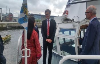 Nitin Gadkari meets Gothenburg Mayor Ann Sofie Hermansson on 16 June 2017 during his visit to the Gothenburg Port
