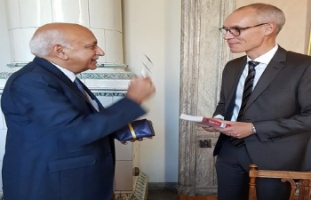 Minister of External Affairs Shri M. J. Akbar meets State Secretary Mr. Oscar Stenström (EU Affairs and Trade) at the Swedish Ministry of Foreign Affairs