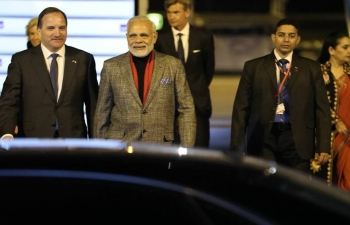 Prime Minister Narendra Modi welcomed by Swedish Prime Minister Stefan Lofven on arrival at the Arlanda Airport in Stockholm on 16 April 2018