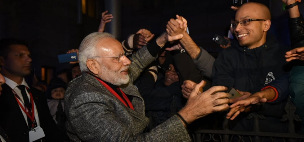 PM Modi being greeted by Indian Community in Stockholm on 16th April 2018.