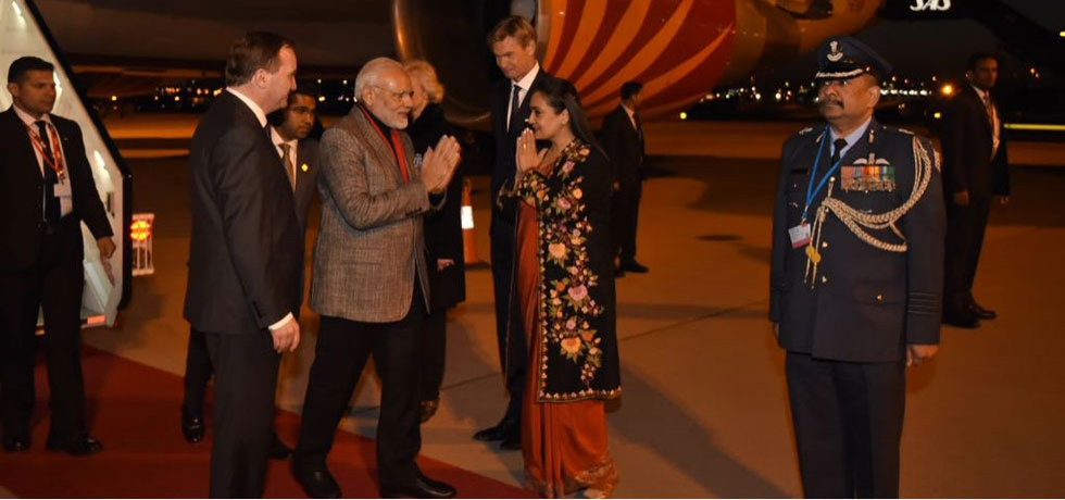 PM Modi arrival on Stockholm on 16 April 2018.