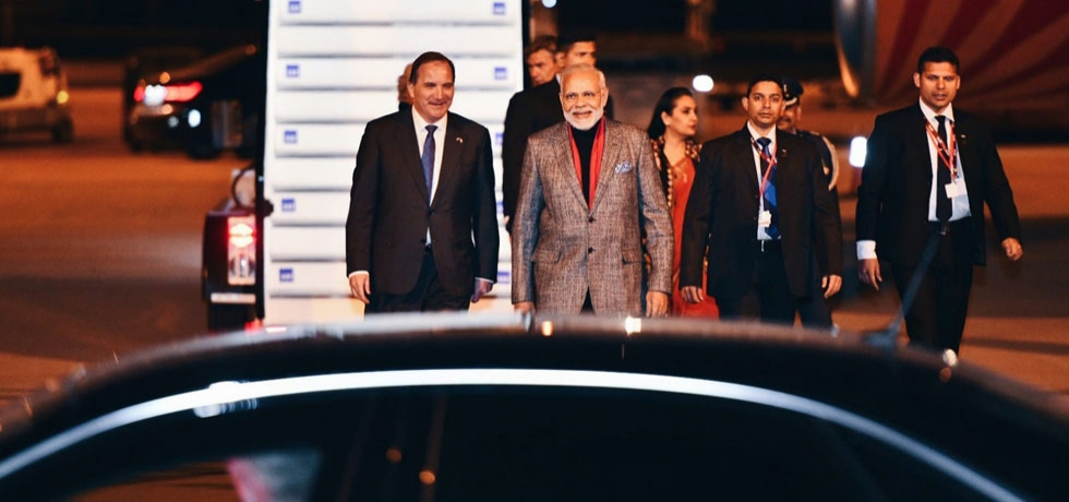 Prime Minister Narendra Modi welcomed by Swedish Prime Minister Stefan Lofven on arrival at the Arlanda Airport in Stockholm on 16 April 2018.