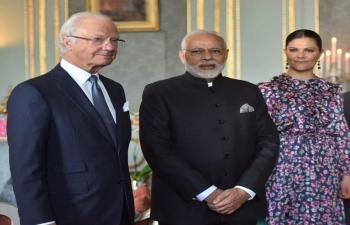 Prime Minister Narendra Modi in audience with His Majesty King Carl XVI Gustaf of Sweden in Stockholm