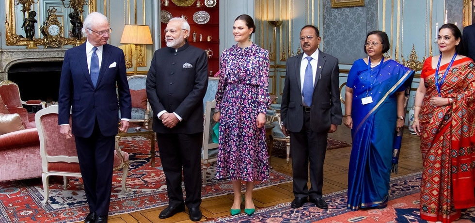 Prime Minister Narendra Modi in audience with His Majesty King Carl XVI Gustaf of Sweden in Stockholm