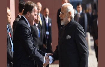 Prime Minister Narendra Modi holds bilateral discussions with Swedish Prime Minister Stefan Löfven at Sager House on 17 April 2018