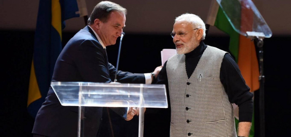 PM modi addressing the Indian Community in Stockholm, Sweden PM Stefan Löfven joined PM Modi