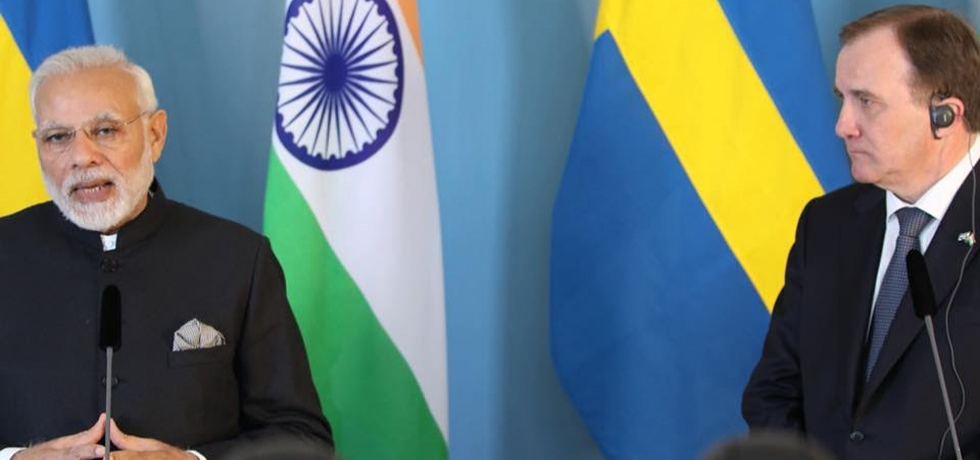 PM Modi addressing a joint press meet with Swedish PM Stefan Löfven in Stockholm on 17th April