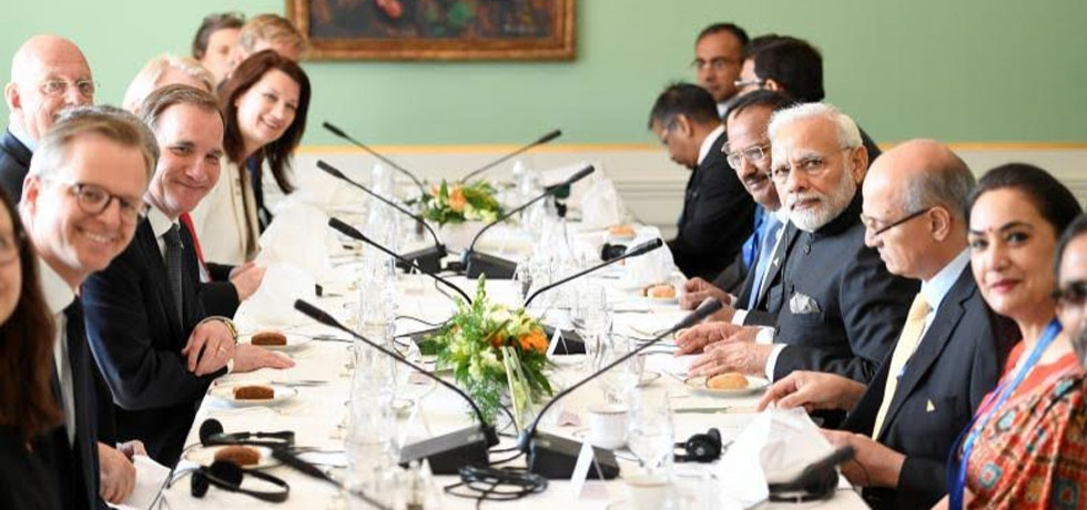 Prime Minister Stefan Lofven and Prime Minister Narendra Modi with delegations at a work lunch in the government building Rosenbad in Stockholm, Sweden April 17, 2018