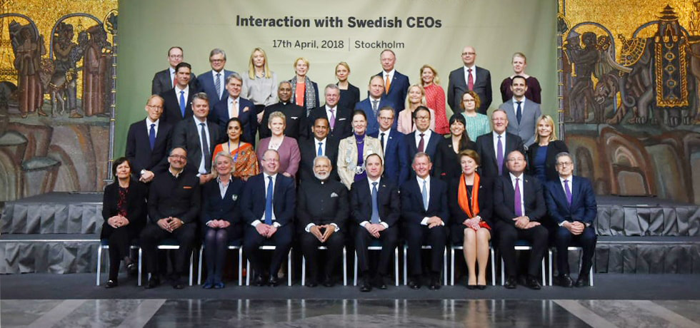 PM Narendra Modi and Swedish PM Stefan Löfven interacted with top business leaders at the Roundtable Meeting with Swedish CEOs in Stockholm
