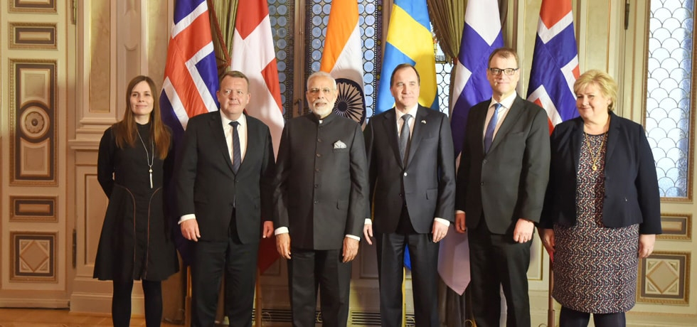 Prime Minister with Nordic Prime Ministers at the First India-Nordic Summit at Stockholm