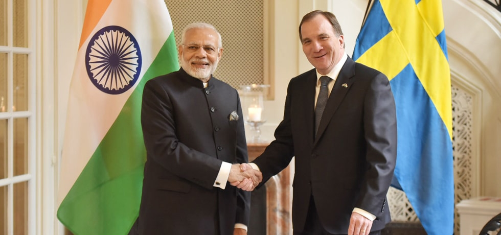 Prime Minister meets Stefan Lofven, Prime Minister of Sweden at Stockholm