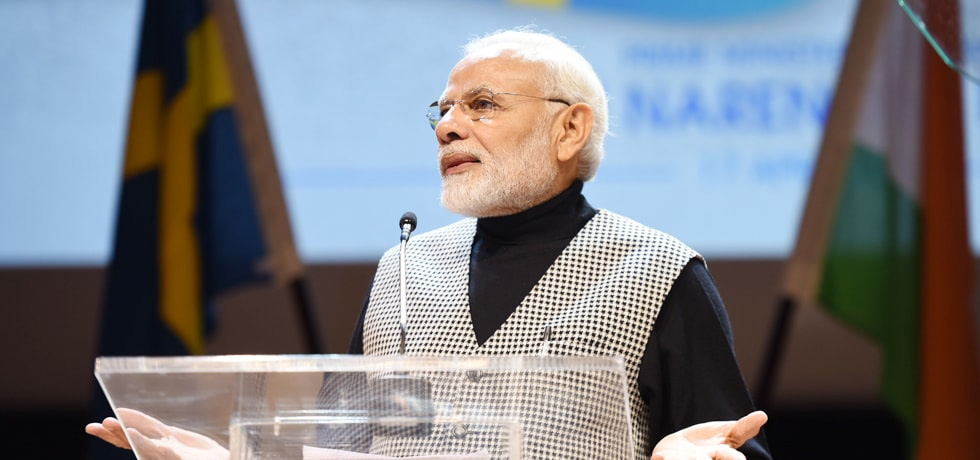 Prime Minister addresses Indian Community at Stockholm University during his visit to Sweden