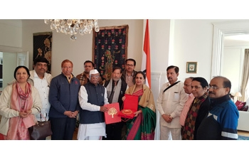 Ambassador hosts a 11-Member high-level delegation from Maharashtra Legislature led by Hon'ble Shri Ramraje Naik Nimbalkar, Chairman, Maharashtra Legislative Council, which included Hon'ble Shri Haribhau Bagade, Speaker, Maharashtra Legislative Council at India House on 23 April 2018