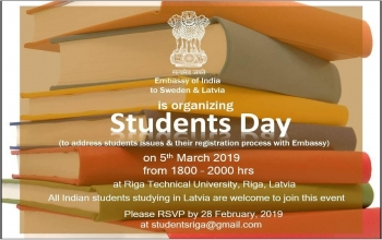 "Embassy of India, Stockholm is Organizing ""Students Day"""