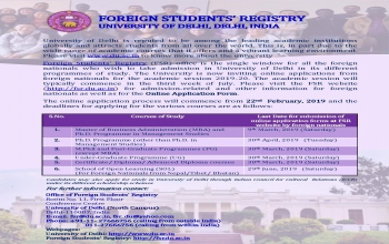 Admission Notice for foreign students in Delhi University