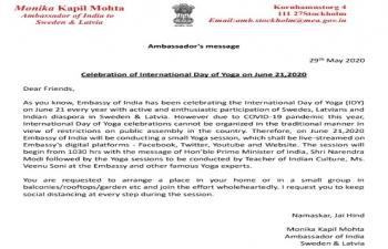 Ambassador's message on International Day of Yoga 2020