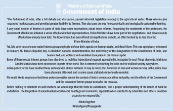 Press Statement on recent comments by foreign individuals and entities on the farmers' protests