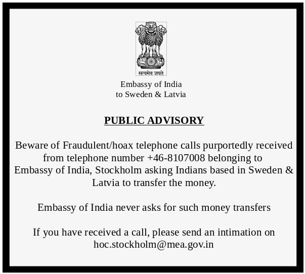 Embassy of India, Sweden & Latvia